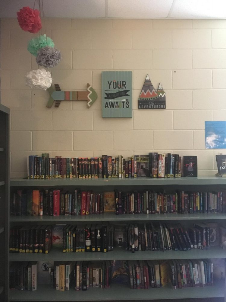Mrs. Grice displays different types of books. Students could chose any books for summer reading.
