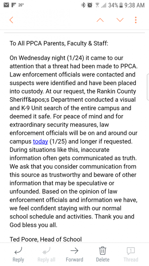 An email that was sent out concerning the threats.
