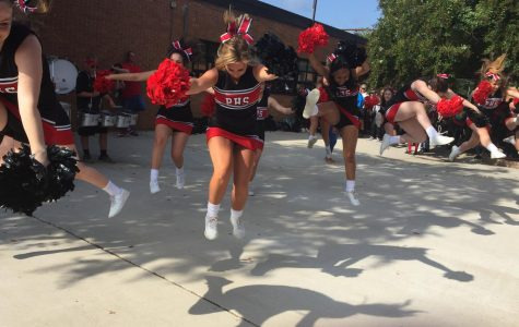 The Pelahatchie cheerleaders perform for the high school students for the first pep-up.