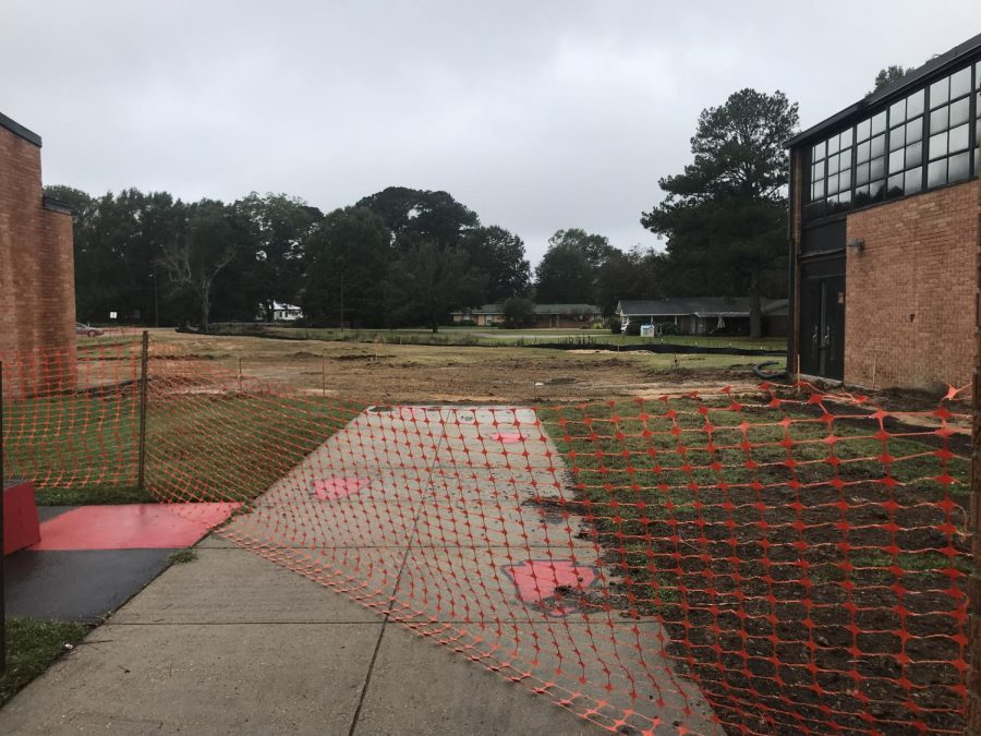 The front walkway, which is headed toward the auditorium and high school classrooms, was gated off where the new offices are going to be built.