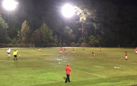 The second half of the boys soccer game; Pelahatchie team waits for the other team to kick the ball.