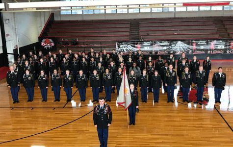 JROTC Companies A (Pelahatchie) and B (Puckett) stand in formation after the inspection during the school year of 17-18.