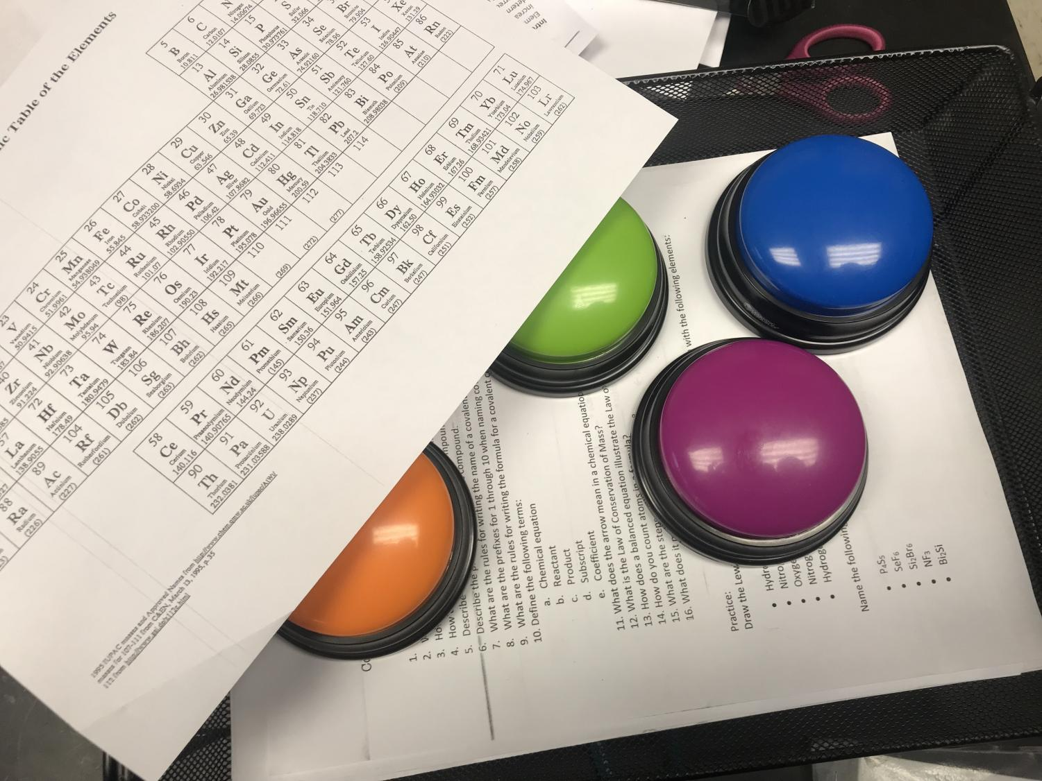Pictured above are a couple examples of Mrs. Greene's techniques, including a Table of Elements, study guide, and buzzers for the Jeopardy games.