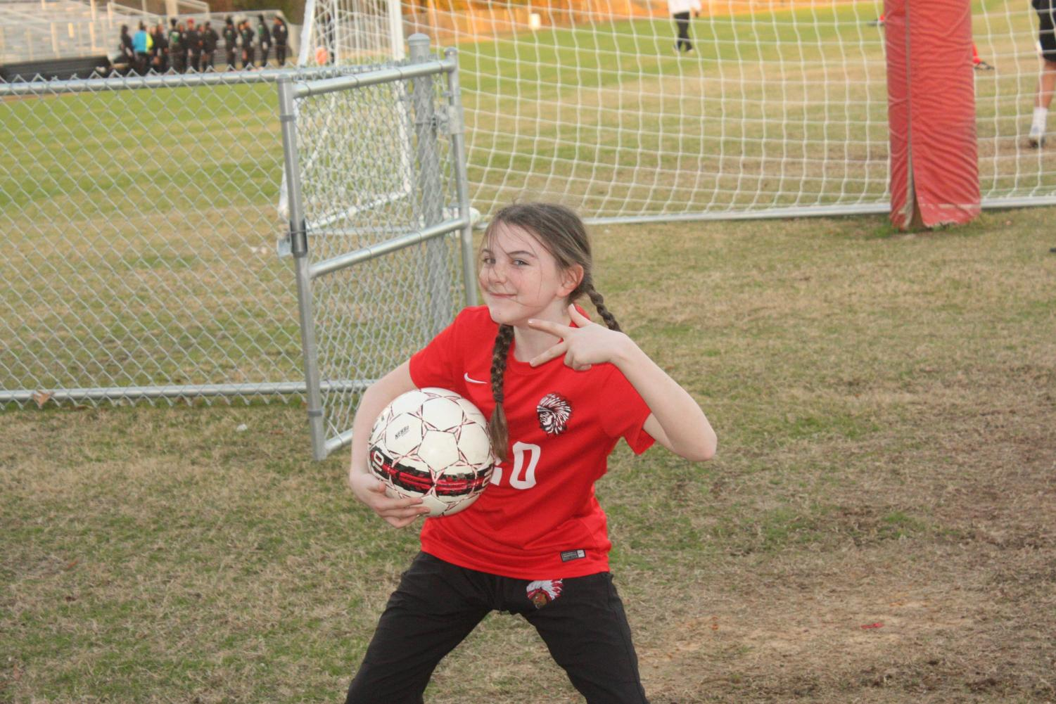 Shelby Surkin before a varsity soccer game against Vicksburg High.