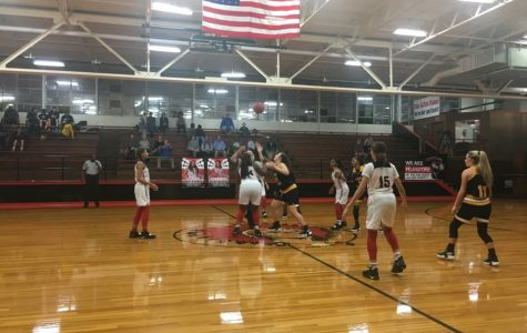 Jacey Cooper, Makayla McClure, Sharetha Hobbs, Chrystianna Beeman (#15) and in the back Andrianna Macklin set up to start the latest game played.