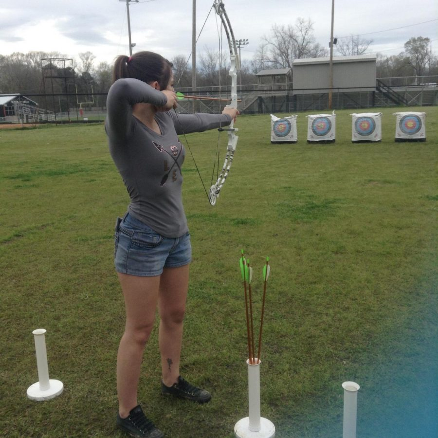 Archery+Captain+Brianna+Rowland+putting+in+over+time+at+practice.+Photo+credits+to+Carmen+Hamilton+
