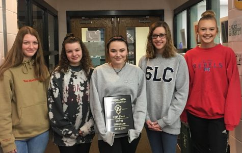From left to right: Hannah Whitney, Abby Dawson, Morgan Boyd, Katie Bayliss, and Amanda Trest all placed at the National Beta Convention for Living Literature.