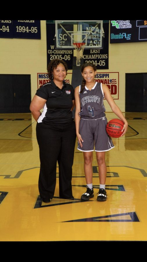 South Coach Pearlene Fairly and player Jacey Cooper.