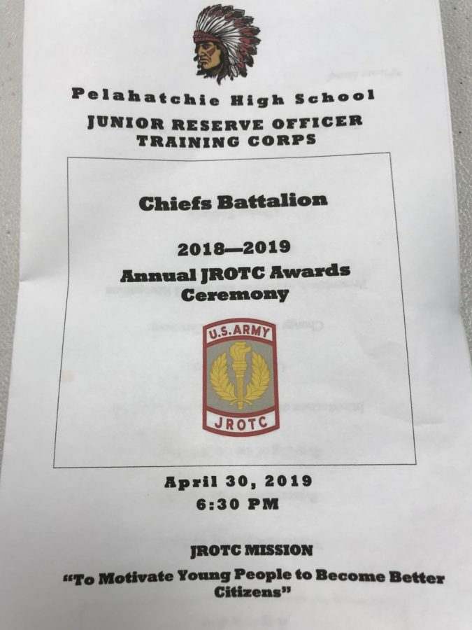 JROTC Awards Ceremony Program for 2018-2019 school year