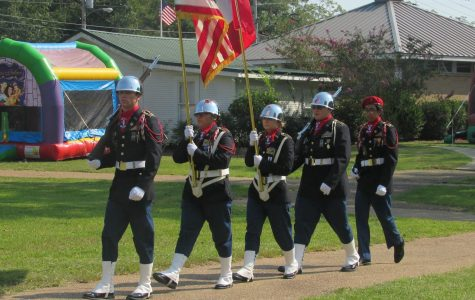 Pictured left to right Gaven Boydstun, Maria Banuelas, Rose Gibney, Landin Pierce, and Jose Banuelas after completing the showing of the colors.
