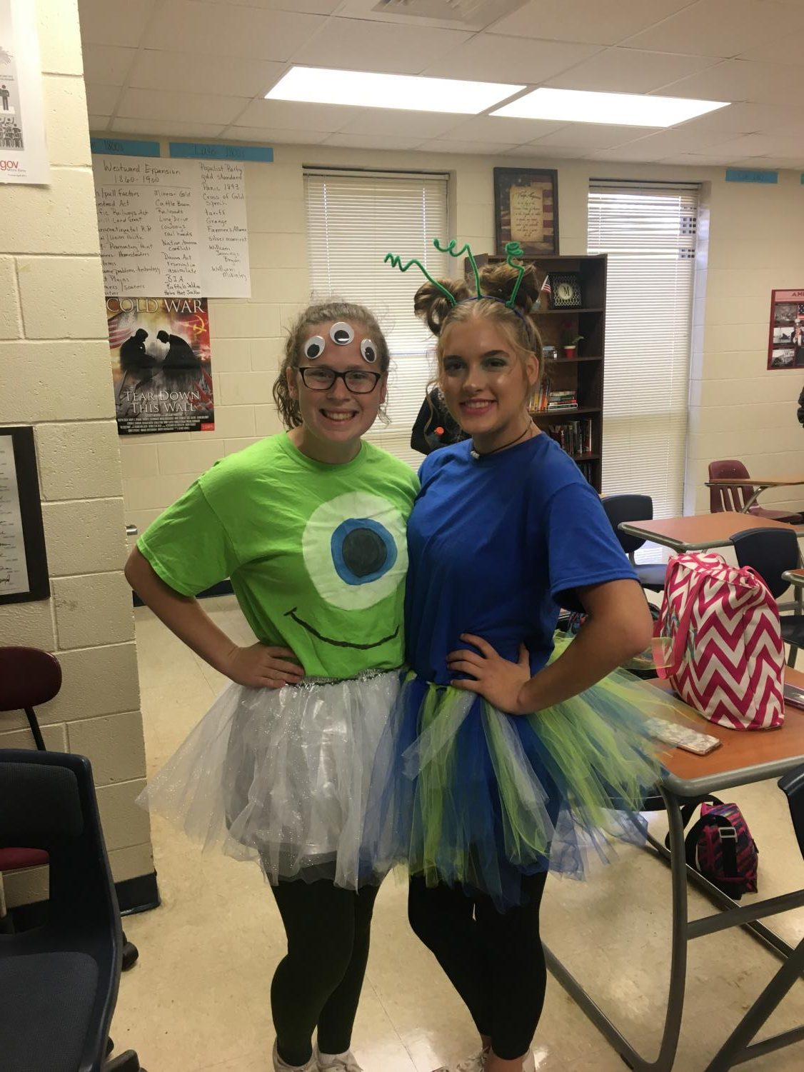 Megan Herrington and MaKaylee Hester show off their alien outfits.