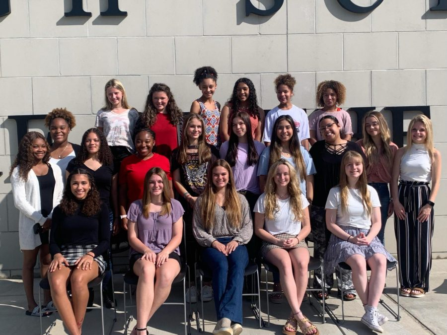 The 2021 Pelahatchie Homecoming maids meet to take a picture for the newspaper to acknowledge their achievement.